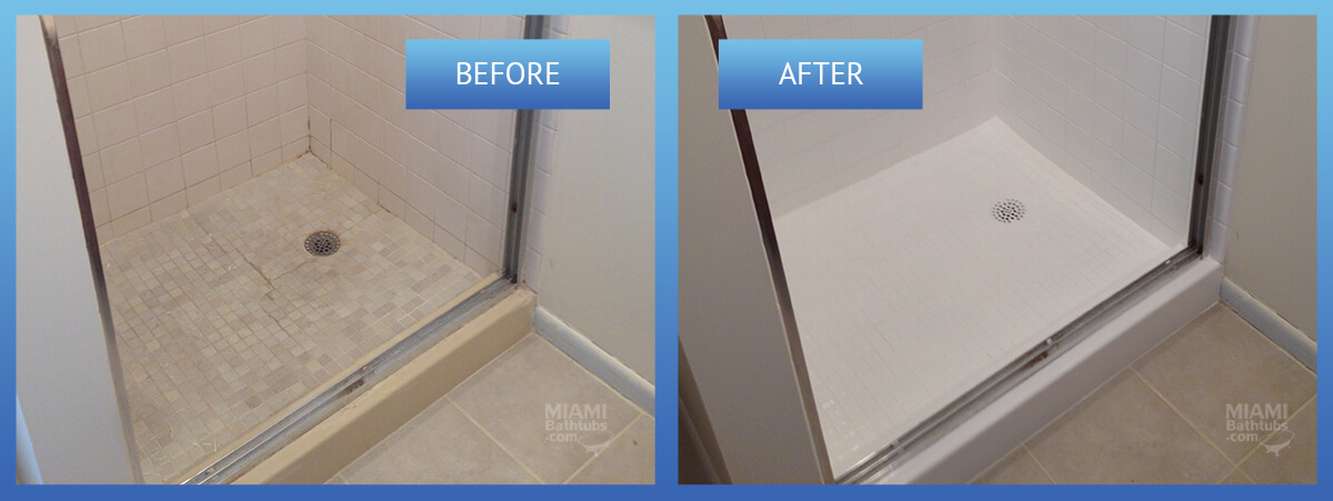 Shower and tile refinishing  tile reglazing. Miami Bathtubs