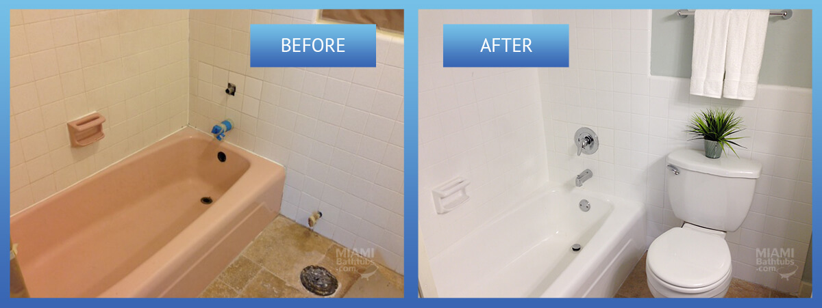 Miami bathtubs for Painting bathroom tile before and after